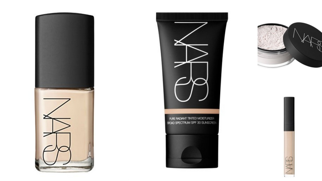 Links: Nars Sheer Glow - Midden: Nars Pure Radiant Tinted Moisturizer - Boven: Nars Light Reflecting Loose Setting Powder - Onder: Nars Radiant Creamy Concealer