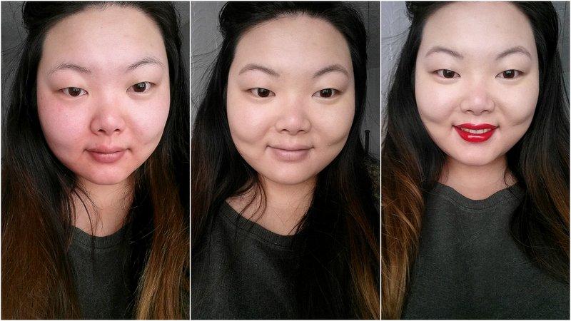 1. Enkel moisturizer. 2. Foundation en wenkbrauwgel.  3. Foundation, wenkbrauwgel en mijn nieuwe favoriete rode lip: Dior Addict Fluid Stick 753 Open Me.
