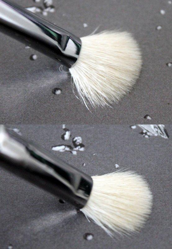 Boven: Zoeva 227 - Onder: MAC 217. Als je druk zet, gedraagt Zoeva 227 zich meer als een fluffy blending brush. Je krijgt een grotere waaiervorm.
