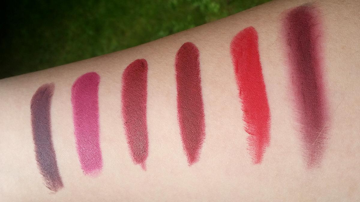 MAC Smoked Purple - Estée Lauder Insolent Plum - Charlotte Tilbury Night Crimson - MAC Diva - MAC RiRi Woo - MAC RiRi Woo + kohl